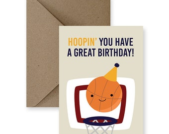 c909f34bd Funny Birthday Card for Friend Funny Birthday Card for Him Cute Birthday  Card for Boyfriend Basketball Card Handmade