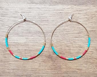 Turquoise/red wave hoop earrings