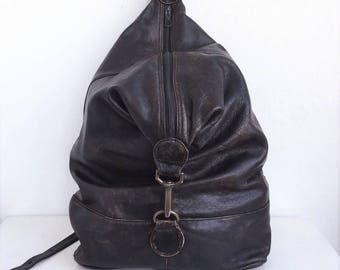 Distressed Black Leather Backpack 1990's