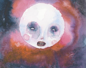 "Galaxy Moon With A Grin (8""x10""print of an original painting by Sophia Rapata)"