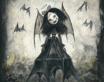 "Bat Lady Contraption (8""x10""print of an original painting by Sophia Rapata)"