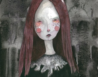 "Red Haired Girl (8""x10""print of an original painting by Sophia Rapata)"