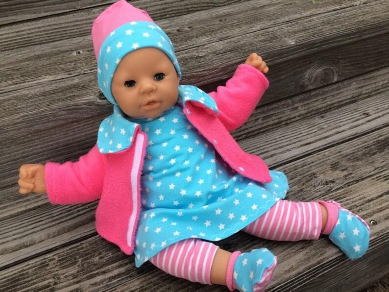 Puppenkleidung für Baby reborn Puppen Gr 32 cm 48 cm Winterset Katze 4-tlg