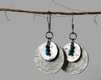 Silver Dangle Earrings - Bohemian Chic Jewelry - Featuring Hammered Silver with Blue & Green Beads