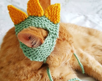 Dinosaur Hat for Cats, Pet Accessories, Novelty Knitted Costume, Gifts for Cat Lovers