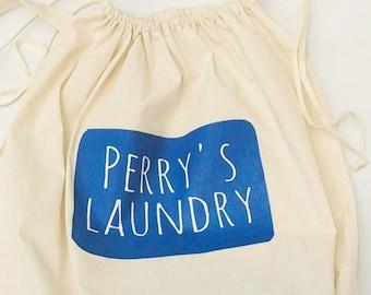 Personalize Laundry Bag, Canvas Laundry Sack, College Laundry, Family Washing Bag, Hanging Laundry Bag, Dormitory, Bedroom, Bathroom Laundry