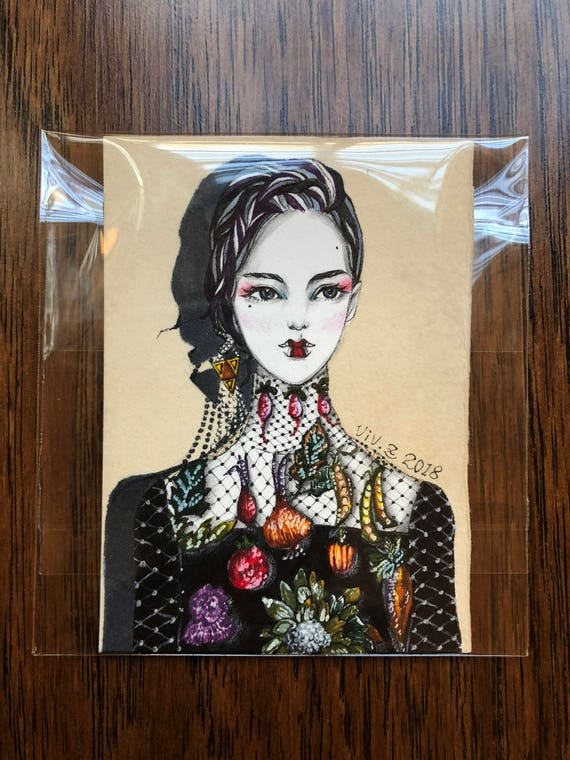 ACEO One of a Kind artist trading card Pen and Ink Flower Embroidery Original ACEO miniature hand drawn fashion illustration