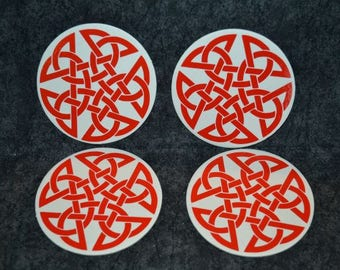 Paper Coaster Set, Celtic Star, Red