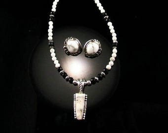 White Fox Creation: Delicate Sterling and White Buffalo Necklace and Earring Set