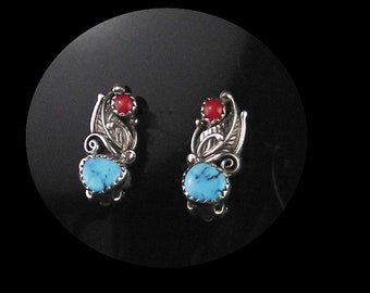 Navajo Turquoise and Coral Earrings