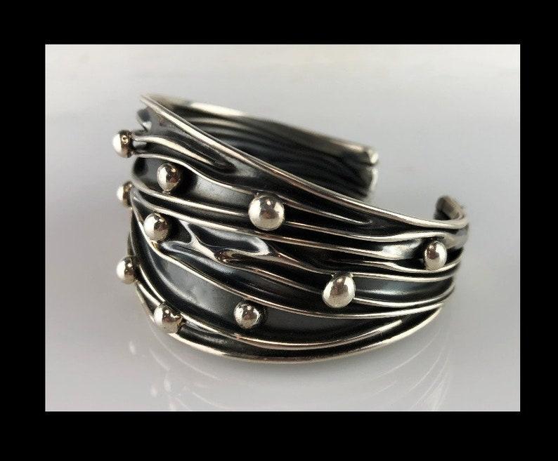 Unique Wrinkled and Studded Sterling Bracelet