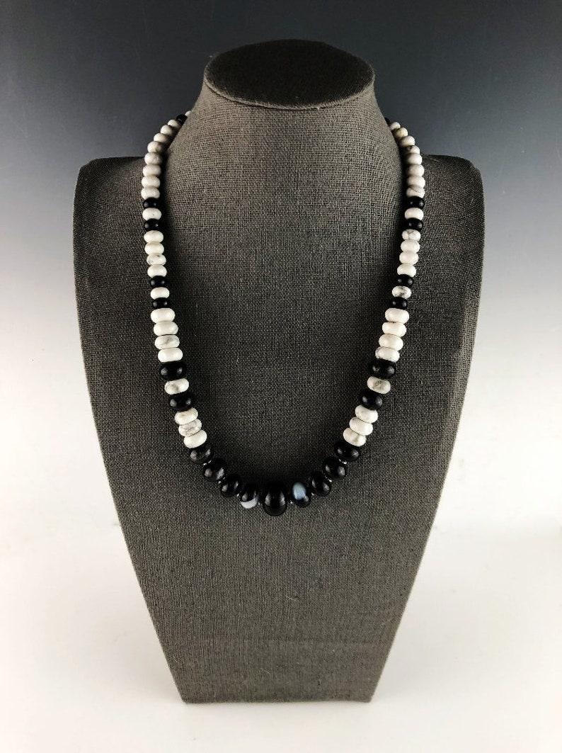 Unisex Black and White Gemstone ChokerNecklace White Fox Creation