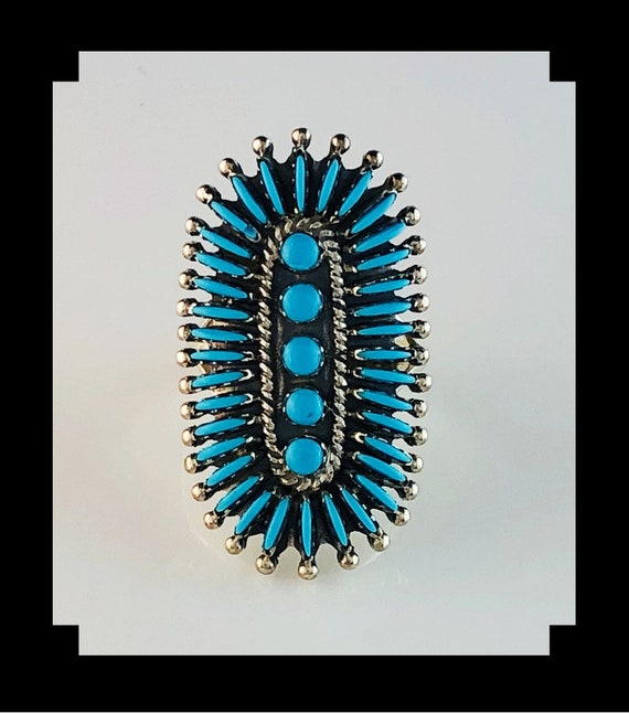 Sterling and Turquoise Needlepoint Ring Size 9