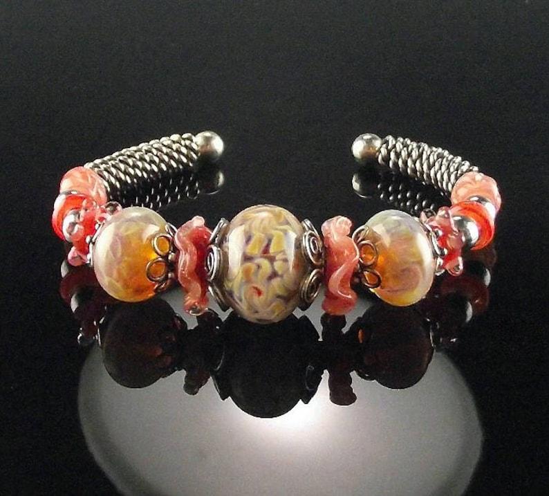 Sterling and Boro Bead Bracelet Sweet Peach
