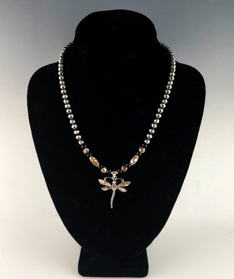 White Fox Creation Sterling and Wild Horse Magnesite Inlaid Dragonfly