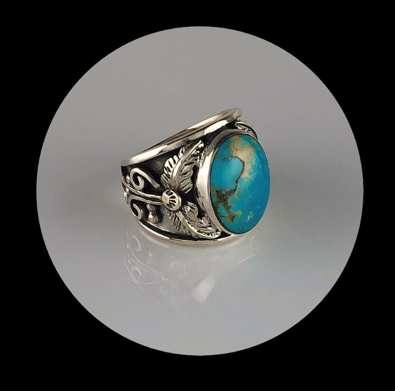 Sterling and Turquoise Men/'s Ring   Size 11 34