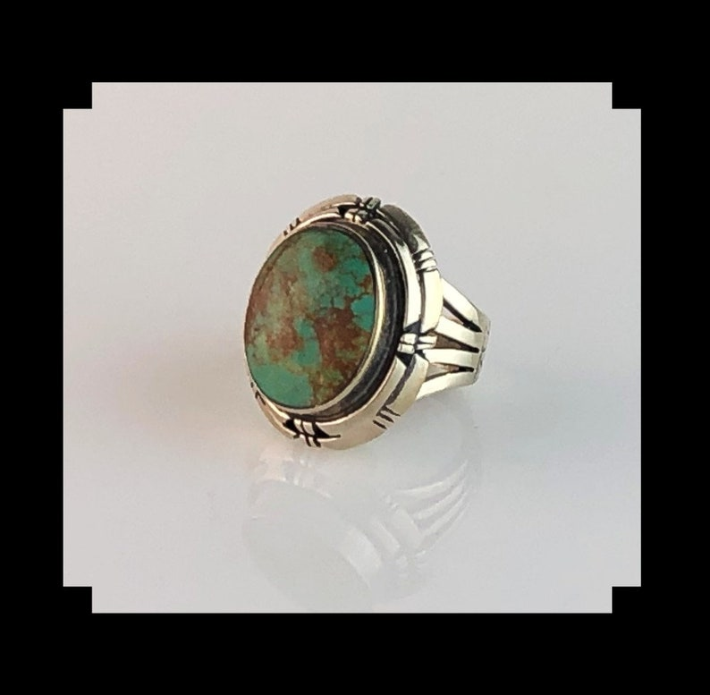 Mens Sterling and Royston Turquoise Ring by Arnold Maloney