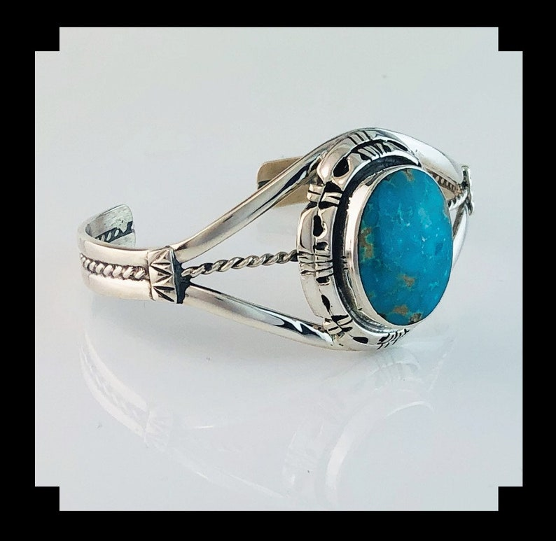 Navajo Sterling and Turquoise Bracelet by Terri Wood