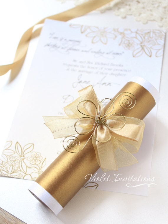 10 gold wedding scrolls personalized flower birthday party etsy