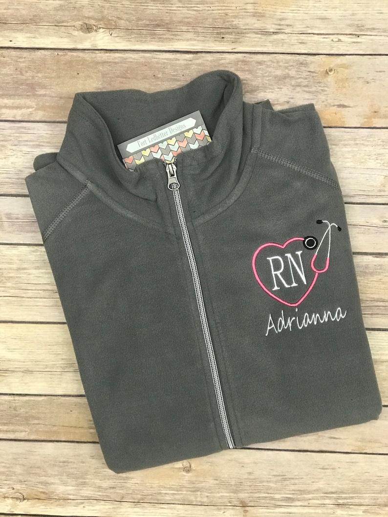 Personalized RN fleece jacket Nursing Jacket Graduation image 0