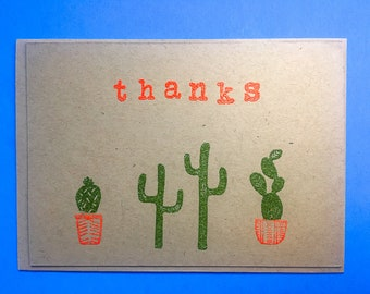thanks cactus blank greeting card