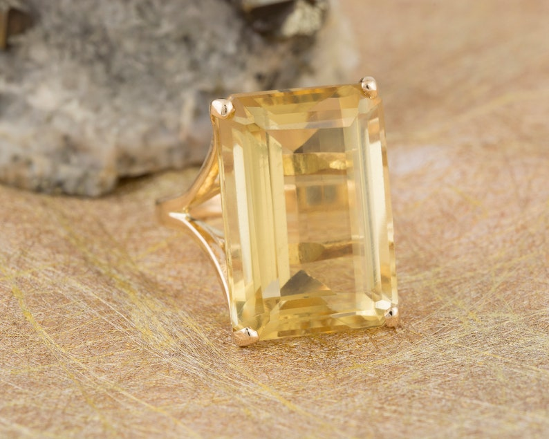 4976a2e0ca3ac Emerald Cut Citrine Solitaire Cocktail Ring in 14k Yellow Gold