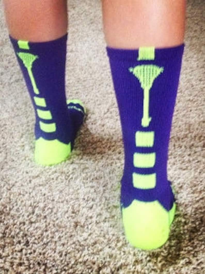 Lacrosse Socks Sticks Up Lime green and Purple Crew-Large