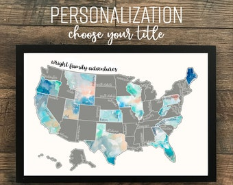 Personalized Silver Dreamer-Watercolor Scratch Off Map- United States of America (Made in USA)