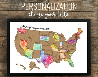 """Personalized Watercolor Scratch Off Map """"Been There Scratched That"""" - United States of America (USA US) Map - Graduation Gift"""
