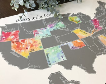 Silver Scratch Off Map - United States of America Travel Map (USA)- Been There Scratched That - Wedding Gift