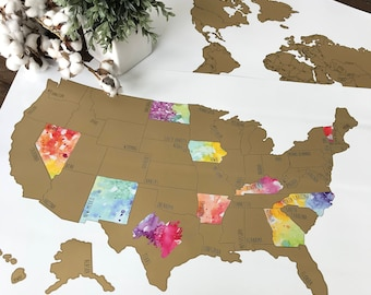 Scratch Off World Map With Us States.Scratch Off Map Etsy