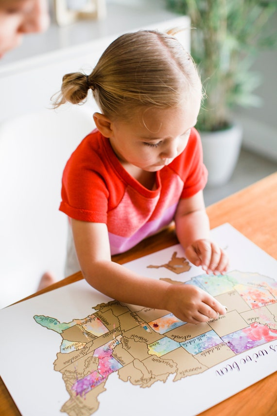 Scratch off US Map Travel Holiday Gift Guide for kids