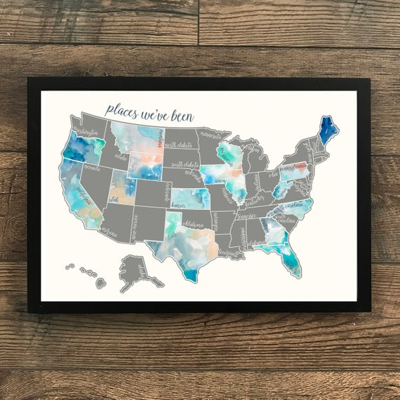 Silver Scratch Off Map - United States of America Travel Map (USA)- Dreamer  - Wedding - Travel Gift