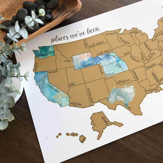 Scratch Off Map Usa Watercolor Scratch Off Map United States of America USA US | Etsy