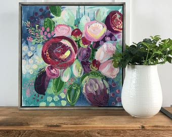 """Abstract Floral Giclee Print- """"Berry"""""""
