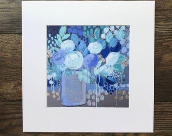 """Abstract Floral Giclee Print- """"Indigo"""""""