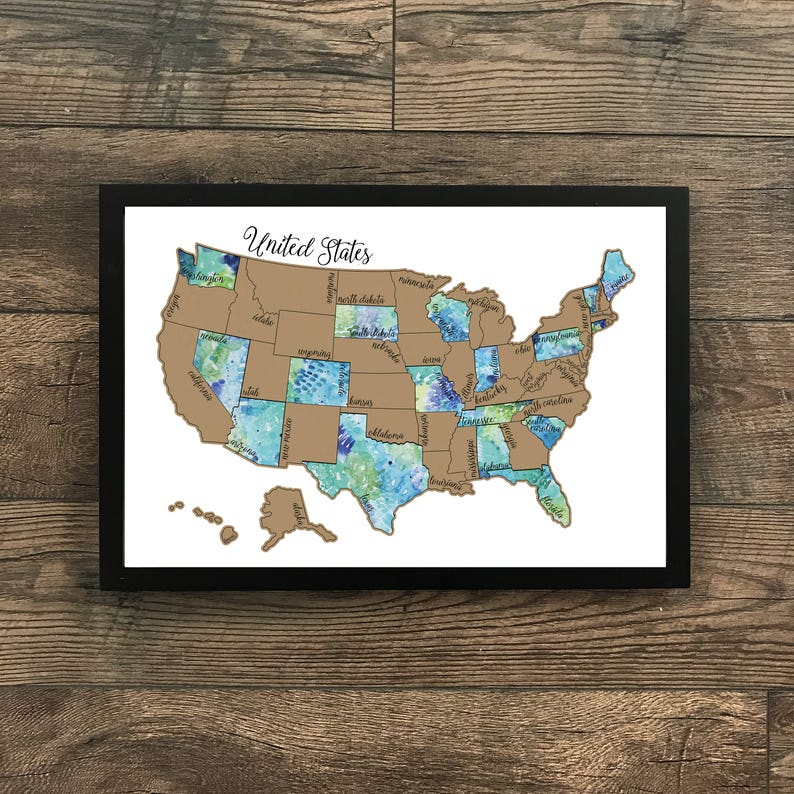 Watercolor Scratch Off Map - United States of America (USA US) - \'Traveling  Blues\' - Wedding Gift - Travel gift- Dorm Room