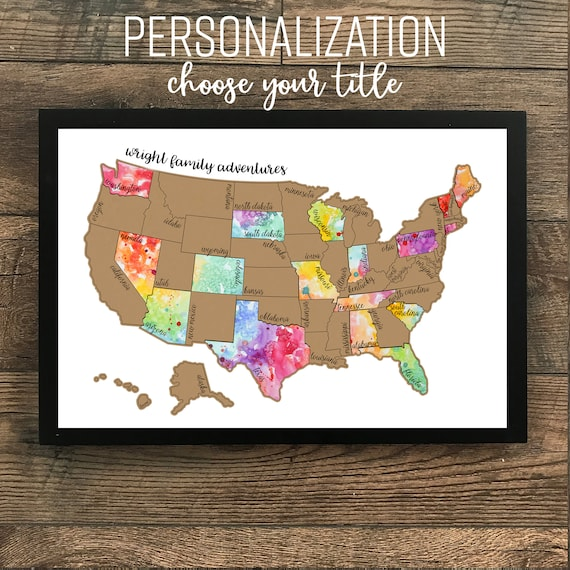 Personalized Watercolor Scratch Off Map Been There Etsy - Watercolor scratch off map