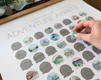 World Bucket List - Scratch Off Print - Adventure Awaits - Wanderlust - World Travel- Birthday Present- Christmas Present