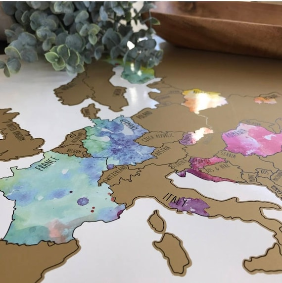 Europe Watercolor Scratch Off Map Been There Scratched That Etsy - Watercolor scratch off map