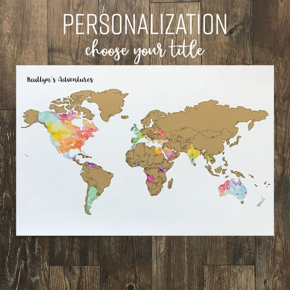 Personalized World Watercolor Scratch Off Map Been There Etsy - Been there map