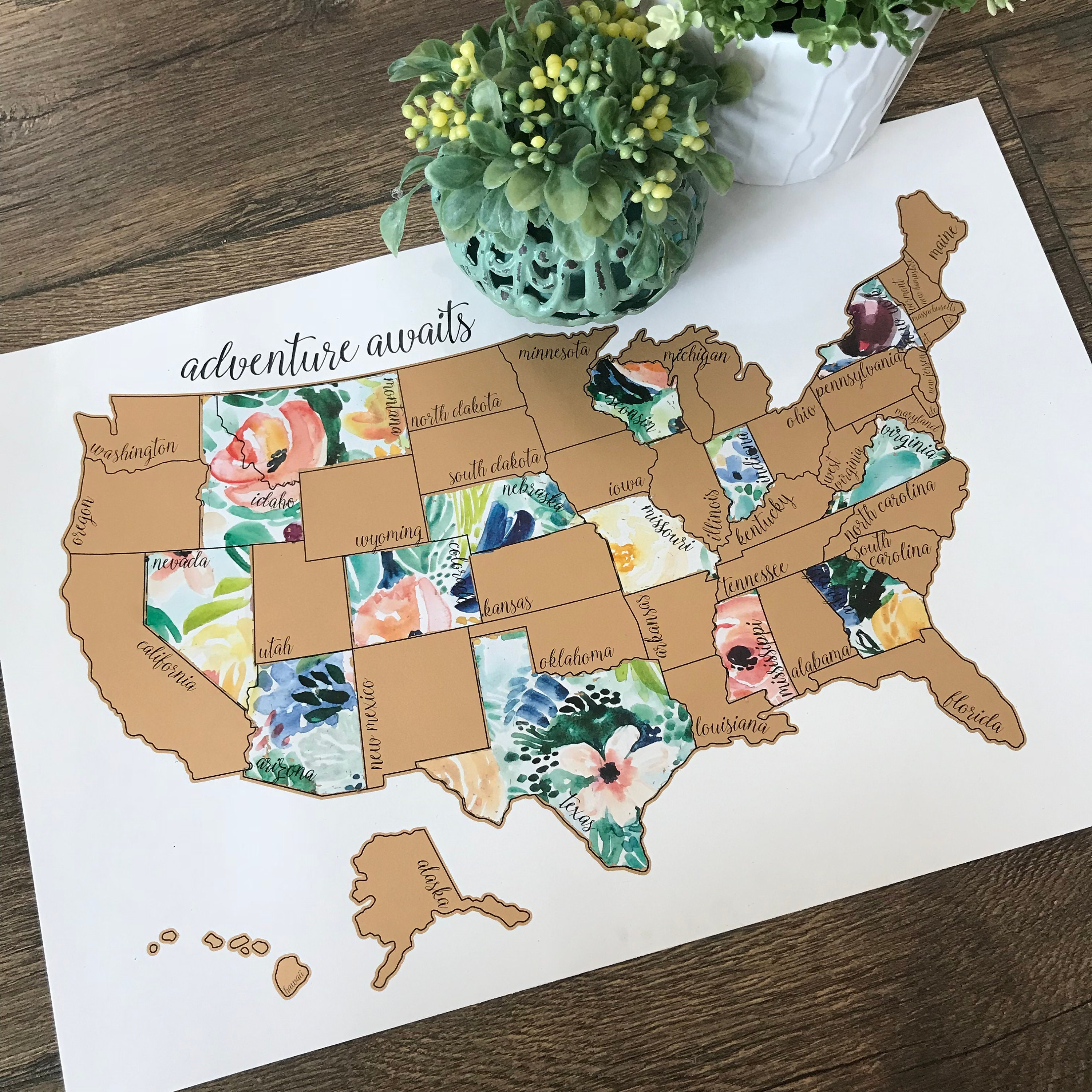 Floral Scratch Off Map - Gold United States of America Travel Map (USA)-  Rose Less Traveled - Wedding Gift - Dorm Room