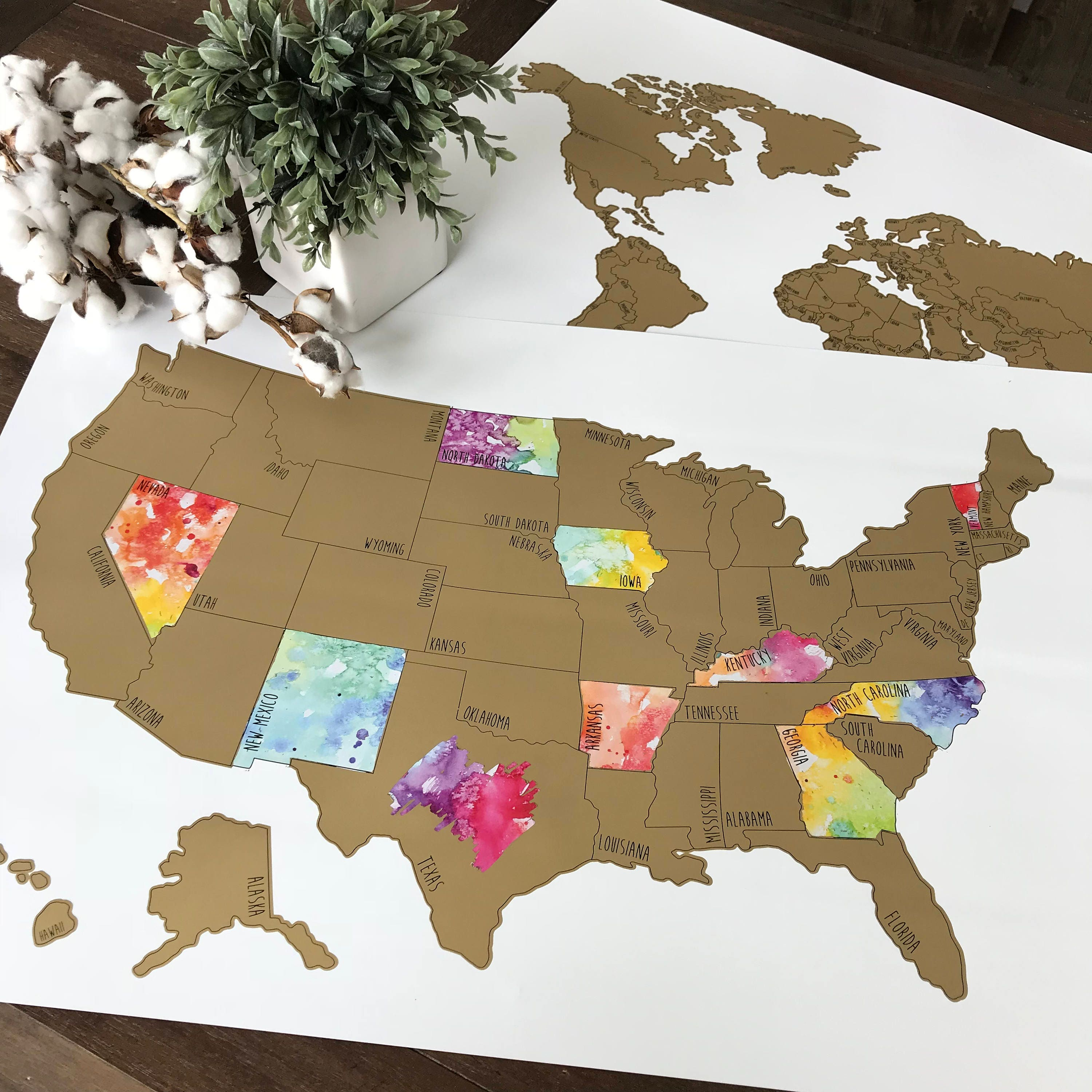 Personalized Large Us Watercolor Scratch Off Map Been There Etsy - Scratch-us-map
