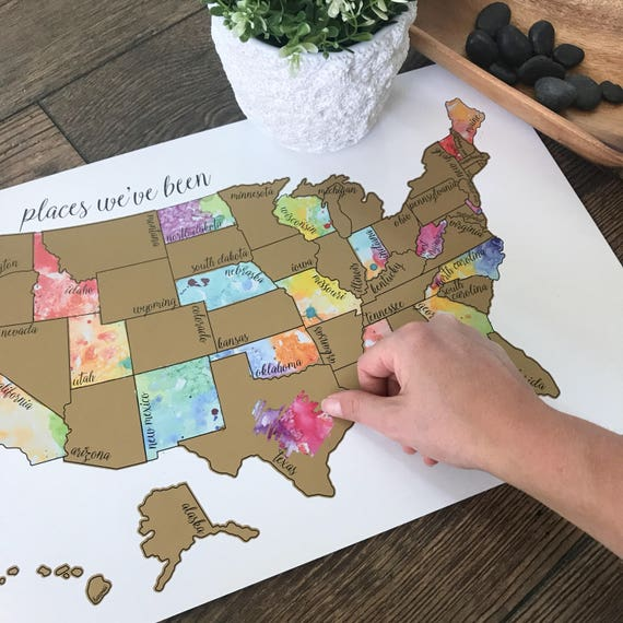 Watercolor Scratch Off Map Travel Map United States Map | Etsy