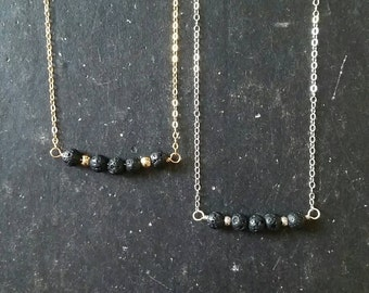 Sterling/Gold Lava Essential Oil Necklace Diffuser --- Lava Rock Aromatherapy Jewelry