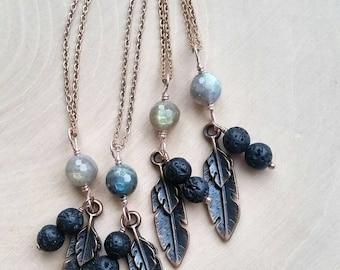 Copper Feather + Lava Essential Oil Necklace • Lava Diffuser Jewelry with Labradorite Stone