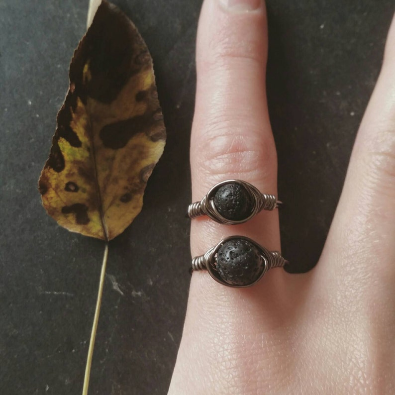 Essential Oil Diffuser Ring  Lava Rock Aromatherapy Jewelry image 0