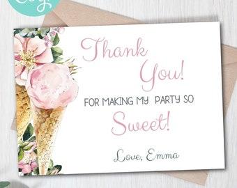 Editable Ice-Cream Party Thank You Card, Ice-Cream Social, Girl Birthday , Ice-Cream Theme, First Birthday, Baby Shower, Bridal Shower