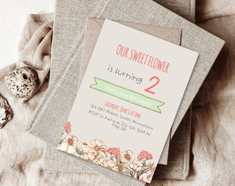 Editable kids party invitation Template, Boho Floral Party Invite, Corjl Template,Do It Yourself,  All occasions Invitations, Baby Shower