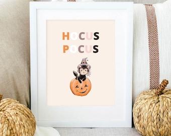 Printable Halloween Wall Art, Halloween quote, Hocus Pocus, Pink Halloween Indoor Decor, BOHO Halloween Wall Prints, DIY Halloween Decor